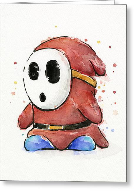 Character Portraits Greeting Cards - Shy Guy Watercolor Greeting Card by Olga Shvartsur