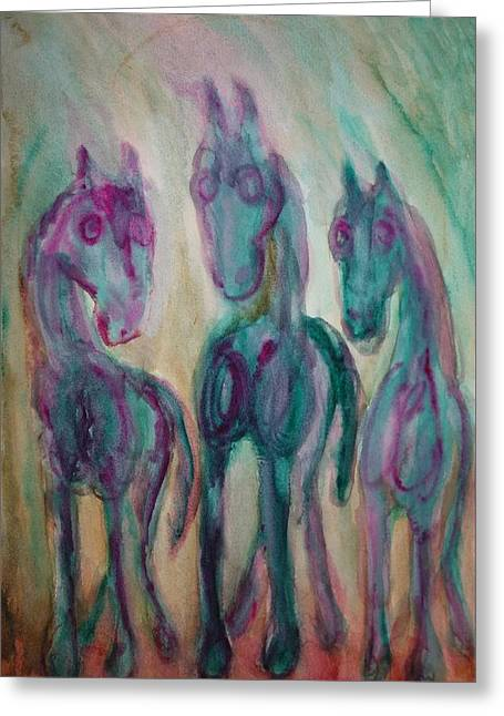 Green Horses Are Shy But Curious  Greeting Card by Hilde Widerberg