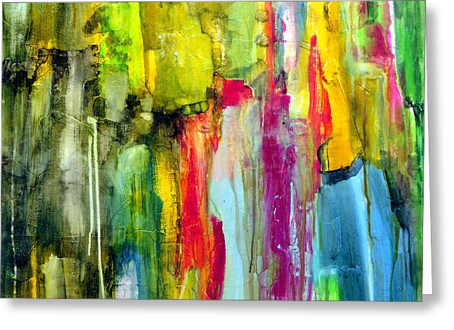 Drippy Paintings Greeting Cards - Shy Greeting Card by Katie Black