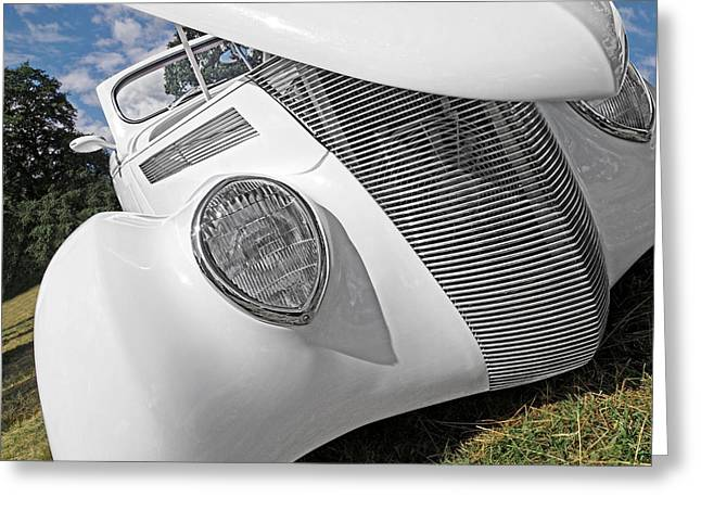 Classic Ford Roadster Greeting Cards - Shy Stunner - 1937 Ford Greeting Card by Gill Billington