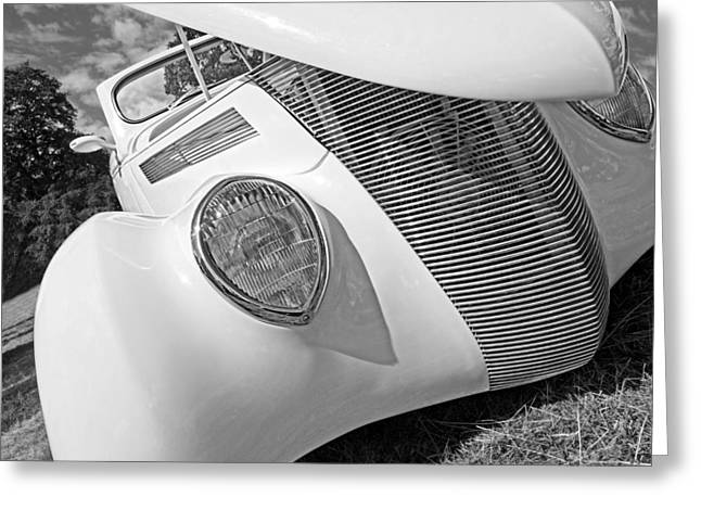 Monochrome Hot Rod Greeting Cards - Shy Stunner - 1937 Ford in Black and White Greeting Card by Gill Billington