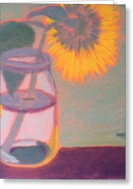 Recently Sold -  - Water Jars Greeting Cards - Shy Sunflower Greeting Card by Molly Fisk
