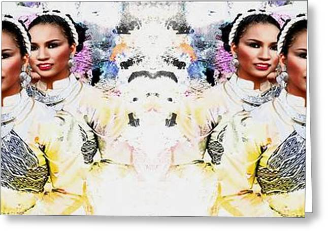 Dancing Girl Greeting Cards - Siam Dancers Greeting Card by Ian Gledhill