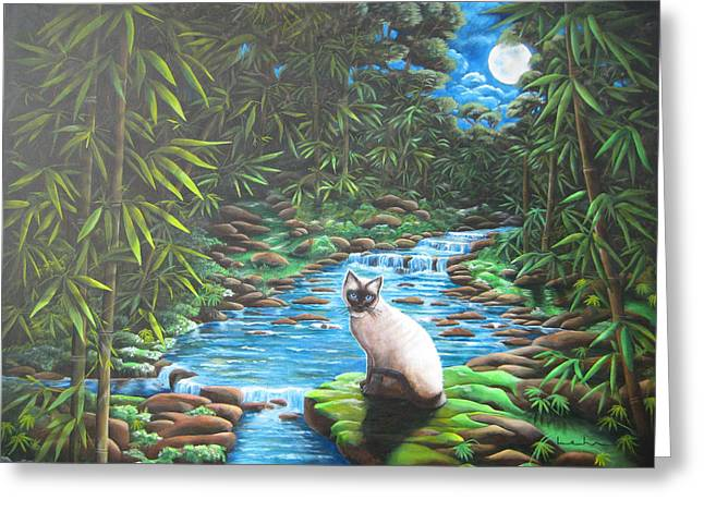 Siamese Bamboo Greeting Card by Diana Lehr
