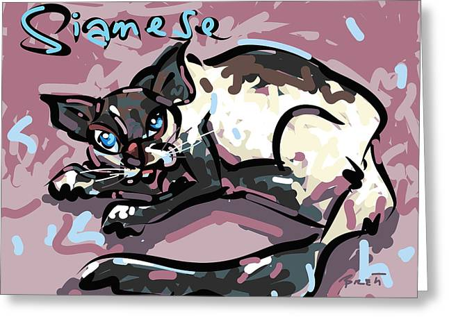 House Pet Drawings Greeting Cards - Siamese Greeting Card by Brett LaGue