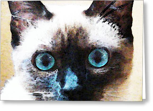 Pet Lover Greeting Cards - Siamese Cat Art - Black and Tan Greeting Card by Sharon Cummings