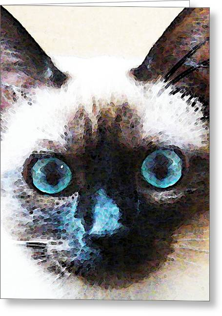 Domestic Digital Greeting Cards - Siamese Cat Art - Black and Tan Greeting Card by Sharon Cummings