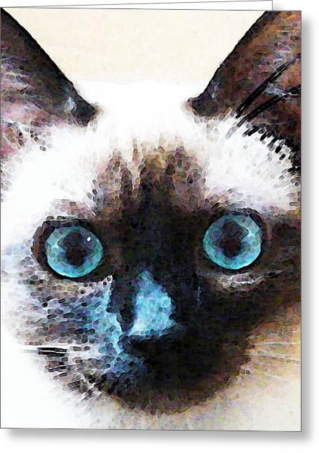 Cute Kitten Greeting Cards - Siamese Cat Art - Black and Tan Greeting Card by Sharon Cummings