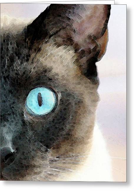 Wall Framed Prints Digital Greeting Cards - Siamese Cat Art - Half The Story Greeting Card by Sharon Cummings