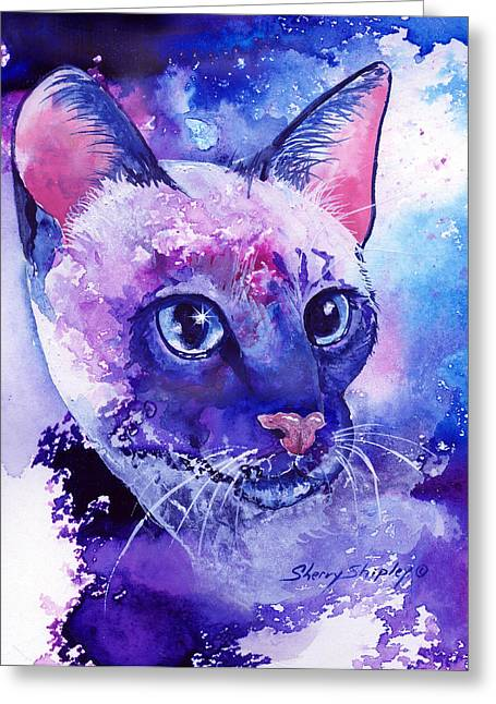 Siamese Fantasy Greeting Card by Sherry Shipley