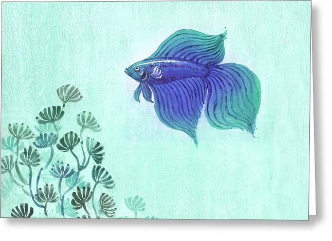 Betta Greeting Cards - Siamese Fighter Greeting Card by Renu K