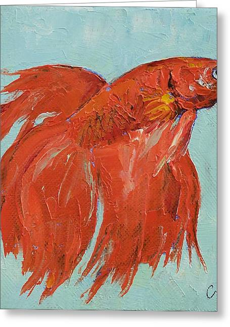 Betta Paintings Greeting Cards - Siamese Fighting Fish Greeting Card by Michael Creese