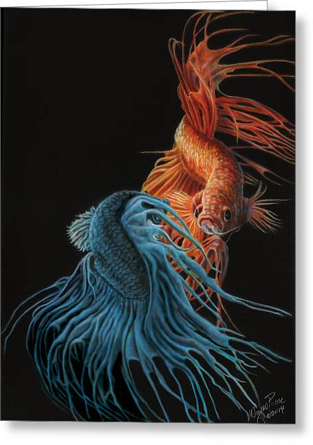Siamese Fighting Fish Two Greeting Card by Wayne Pruse