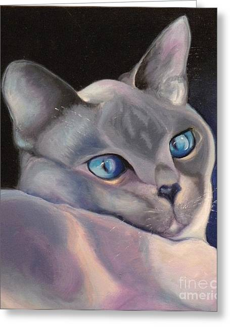 Siamese Cat Print Greeting Cards - Siamese in Blue Greeting Card by Susan A Becker