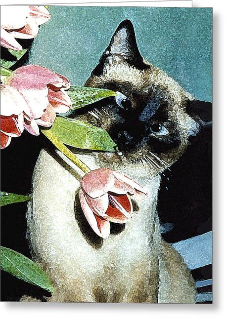 Bad Drawing Mixed Media Greeting Cards - Siamese in Tulips Greeting Card by Elia Peters