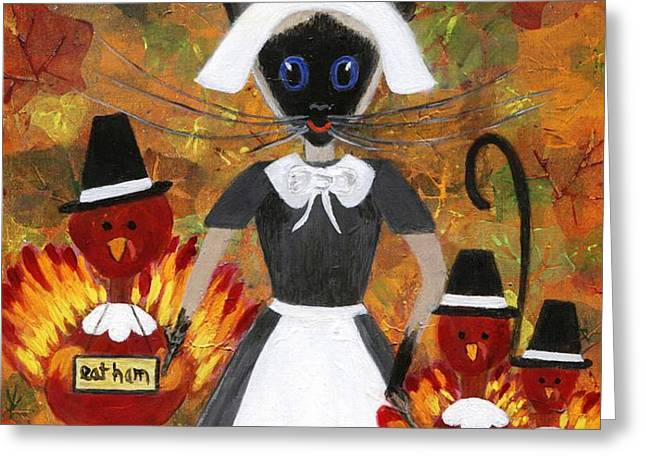 Siamese Queen of Thanksgiving Greeting Card by Jamie Frier