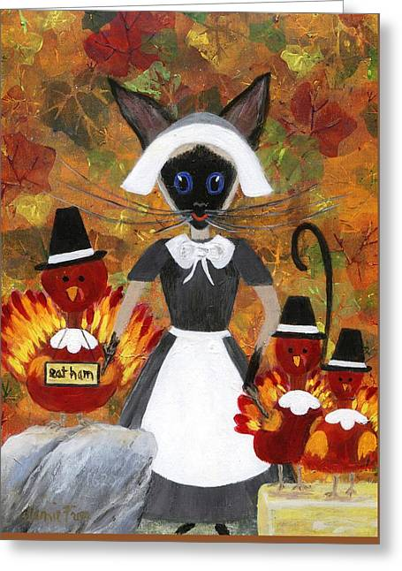 Quaker Paintings Greeting Cards - Siamese Queen of Thanksgiving Greeting Card by Jamie Frier