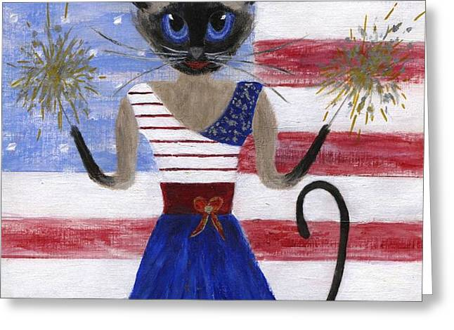 Siamese Queen of the U S A Greeting Card by Jamie Frier
