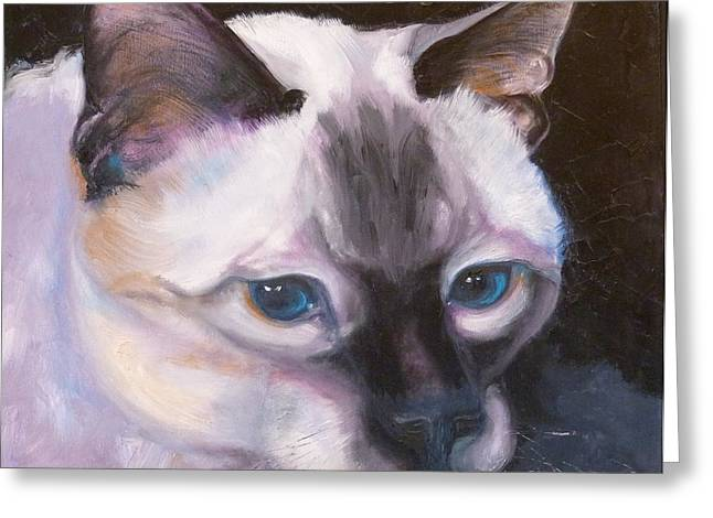 Siamese Cat Print Greeting Cards - Siamese Royalty Greeting Card by Susan A Becker