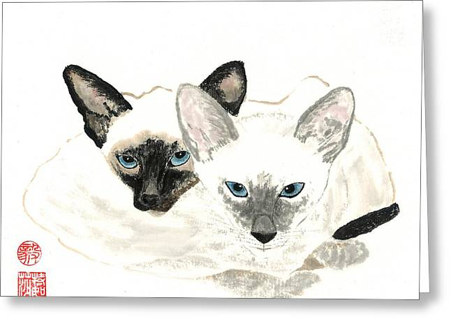 Siamese Cat Greeting Card Greeting Cards - Siamese Sisters Greeting Card by Terri Harris