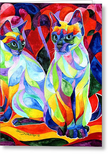 Siamese Sweethearts Greeting Card by Sherry Shipley
