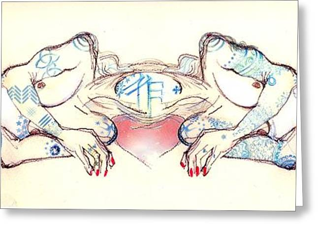 Sharing Mixed Media Greeting Cards - Siamese Twins Greeting Card by Carolyn Weltman