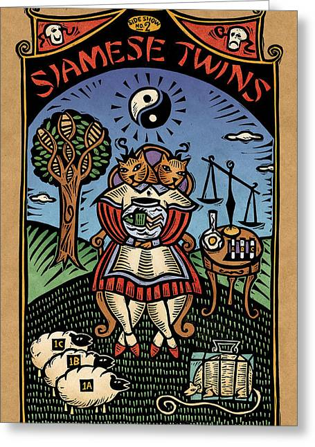 Linocut Greeting Cards - Siamese Twins Greeting Card by Sue Todd
