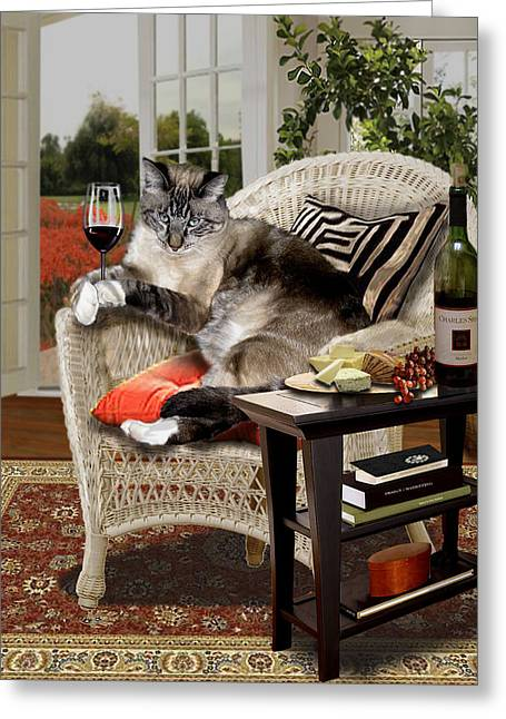 Interior Scene Greeting Cards - Funny pet a wine bibbing kitty  Greeting Card by Gina Femrite