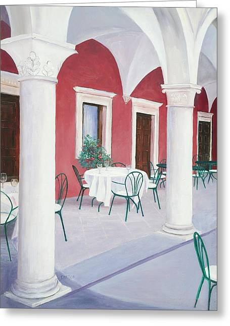 Table And Chairs Paintings Greeting Cards - Sibenik Cafe Croatia Greeting Card by Jan Matson