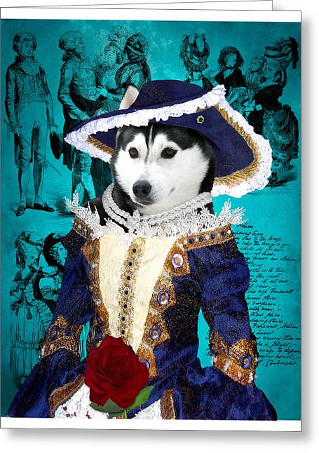 Husky Art Greeting Cards - Siberian Husky Art Canvas Print - Baroness Greeting Card by Sandra Sij