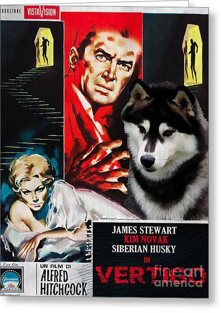 Husky Art Greeting Cards - Siberian Husky Art Canvas Print - Vertigo Movie Poster Greeting Card by Sandra Sij