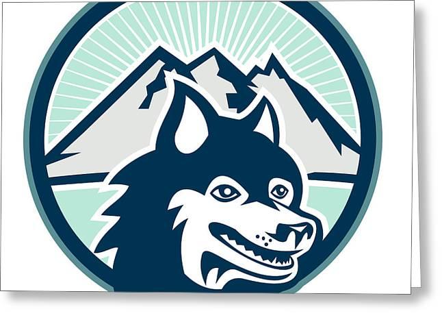 Siberian Husky Dog Head Mountain Retro Greeting Card by Aloysius Patrimonio