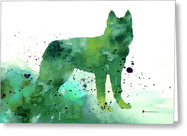 Huskies Mixed Media Greeting Cards - Siberian husky dog silhouette watercolor art print painting Greeting Card by Joanna Szmerdt