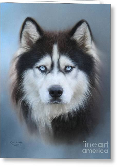 Siberian Husky Greeting Card by Lena Auxier