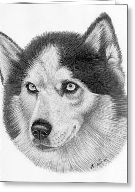 Working Dog Drawings Greeting Cards - Siberian Husky Greeting Card by Rita Palmer