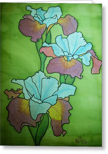 Blooms Tapestries - Textiles Greeting Cards - Siberian iris Greeting Card by Edvinas Misiukevicius