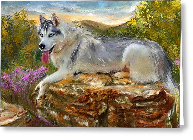 Sled Dogs Greeting Cards - Siberian Leisure - SIberian Husky Painting Greeting Card by Lourry Legarde