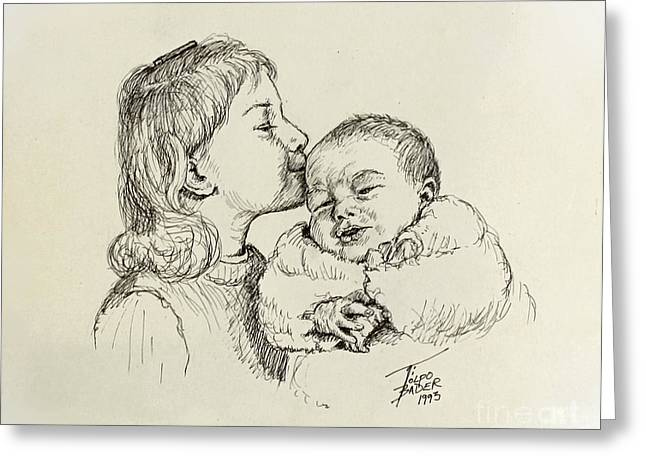 Pen And Ink Framed Prints Greeting Cards - Sibling Love Greeting Card by Art By - Ti   Tolpo Bader