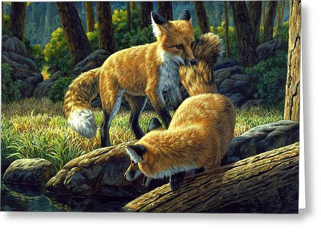 Wild Animals Paintings Greeting Cards - Red Foxes - Sibling Rivalry Greeting Card by Crista Forest