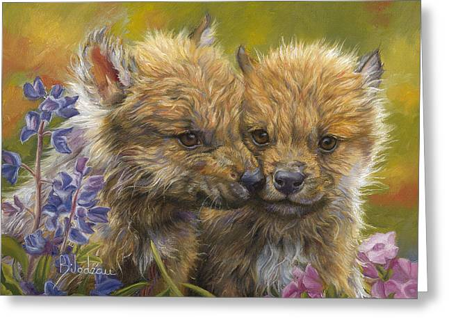 Outdoors Paintings Greeting Cards - Siblings Greeting Card by Lucie Bilodeau
