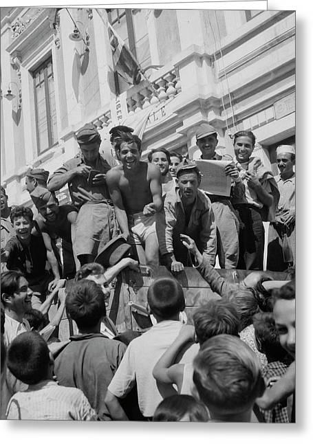 Sicilian Prisoners Of War En Route Greeting Card by Stocktrek Images