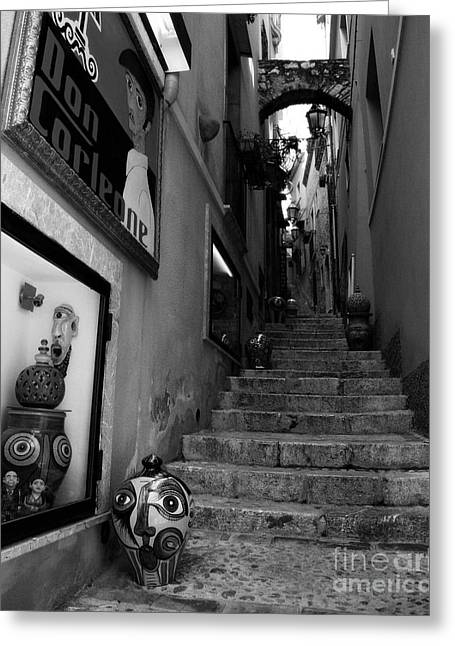 Italian Islands Greeting Cards - Sicilian Steps BW Greeting Card by Mel Steinhauer