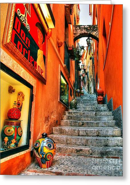 Sicily Greeting Cards - Sicilian Steps Greeting Card by Mel Steinhauer