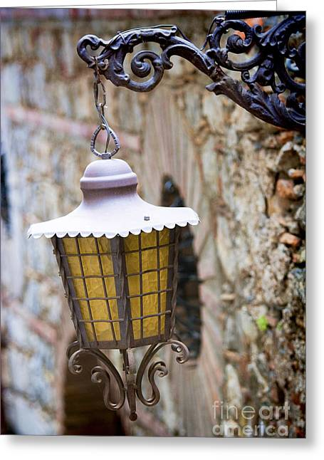Italian Mediterranean Art Greeting Cards - Sicilian Village Lamp Greeting Card by David Smith