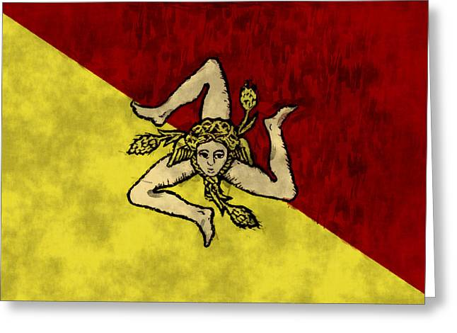 Sicily Greeting Cards - Sicily Flag Greeting Card by World Art Prints And Designs