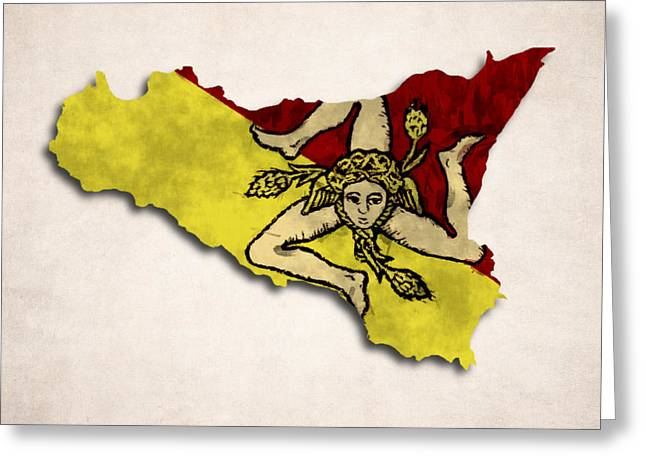 Flags Greeting Cards - Sicily Map Art with Flag Design Greeting Card by World Art Prints And Designs