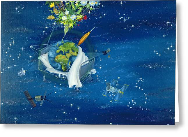 Polluting Greeting Cards - Sick Earth, 2008 Oil On Canvas Greeting Card by Magdolna Ban
