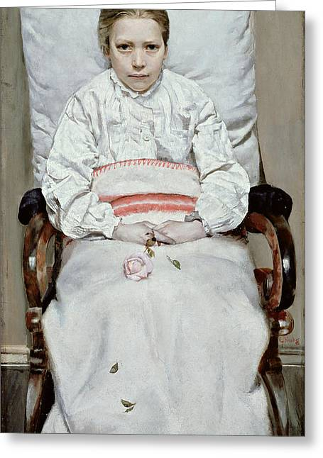 Convalescent Greeting Cards - Sick Girl Greeting Card by Christian Krohg