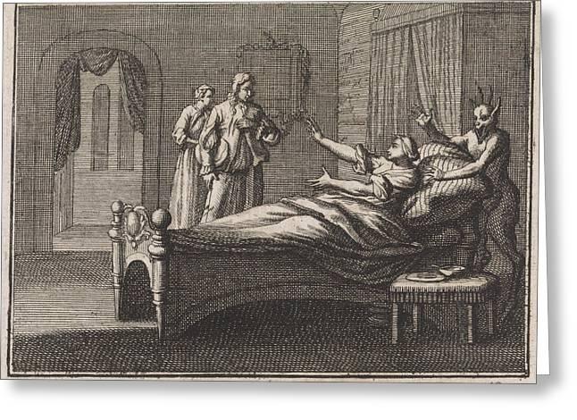 Sick Woman Receives Her Lover, Caspar Luyken Greeting Card by Caspar Luyken And Christoph Weigel