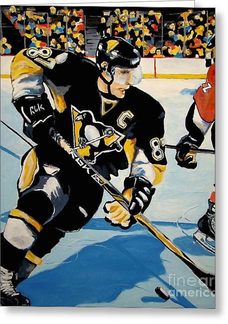 Sidney Crosby Greeting Cards - Sid The Kid Greeting Card by Philip Kram